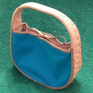 FOSSIL Super cute basket framed purse Turquoise